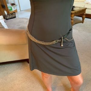 St. John chain and black leather belt